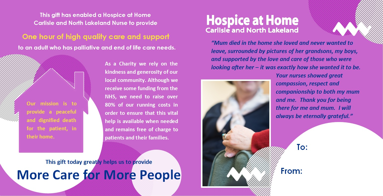 1 Hour of Care - Gift Card - Hospice at Home